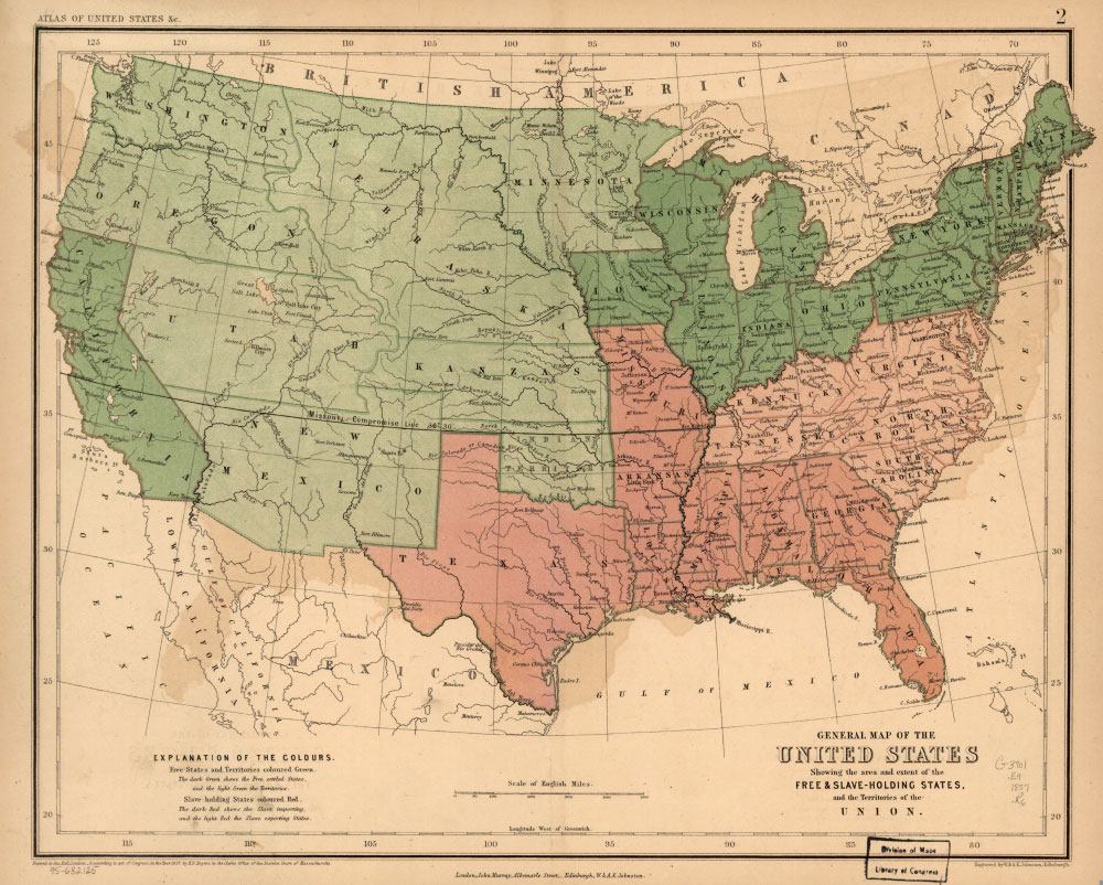 General Map Of The United States Showing The Area And Extent Of Free And Slave Holding
