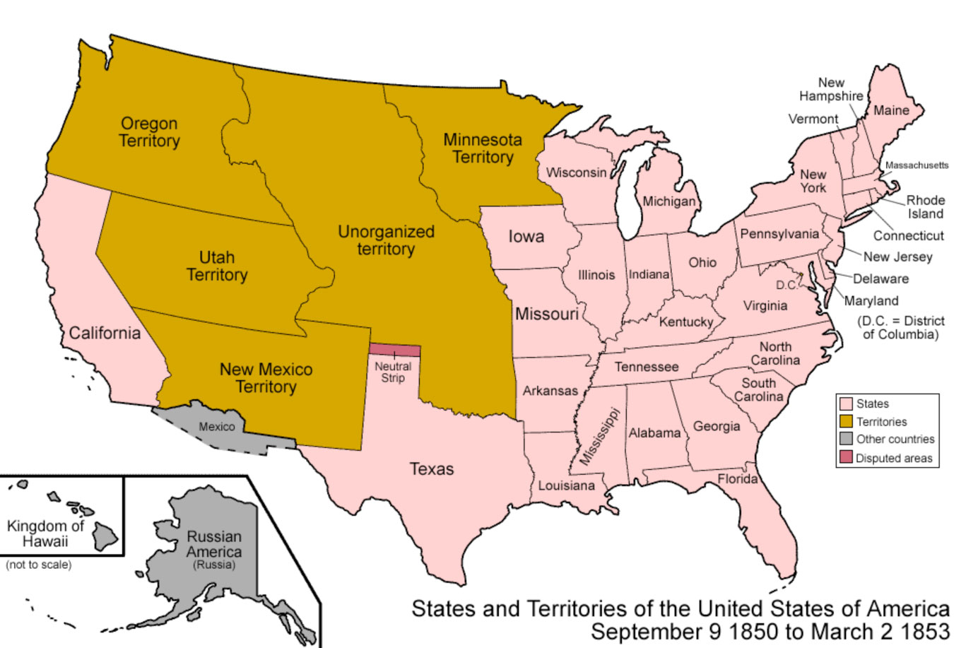 map of the the compromise of 1850
