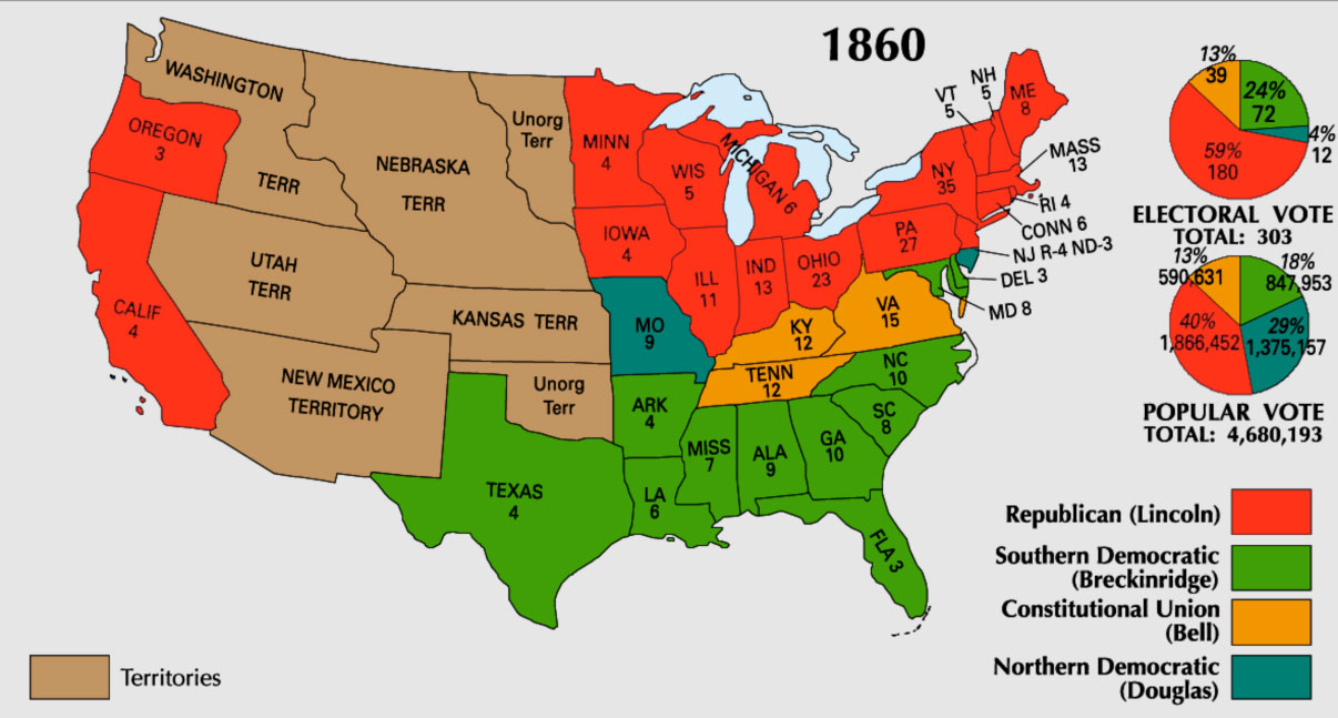 Monitor Th Anniversary Civil War History - Us map 1861