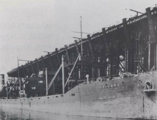 The Chilore was a steam merchant ship damaged by a torpedo in the KS-520 battle. Photo: Norfolk Public Library