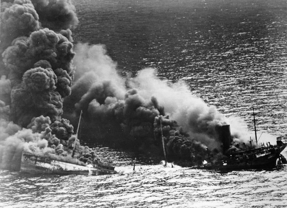 Dixie Arrow burning after being torpedoed by U-71