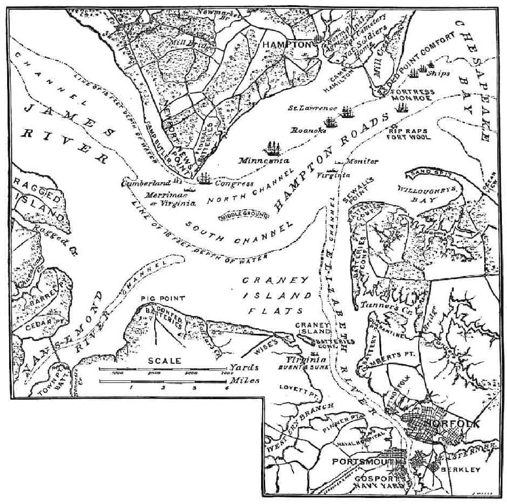 a map of ship movements in the battle of hampton roads