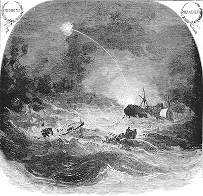 drawing of the monitor sinking into the ocean
