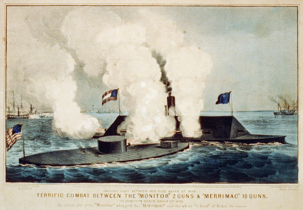 the battle between the monitor and merrimac beginning