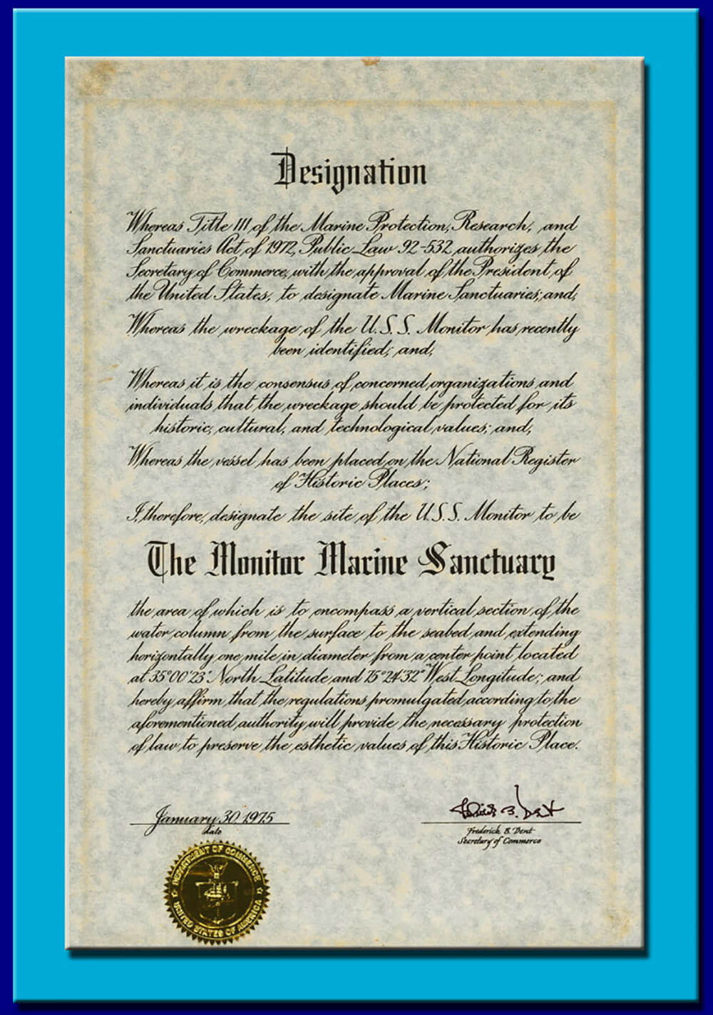 the document designating the monitor as a national marine sanctuary
