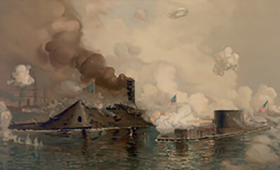 painting of the battle of hampton roads