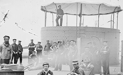 Sailors on the deck of the monitor
