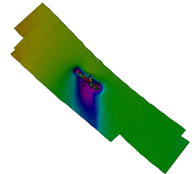 Multibeam sonar image of the USCGC Bedloe wreck site