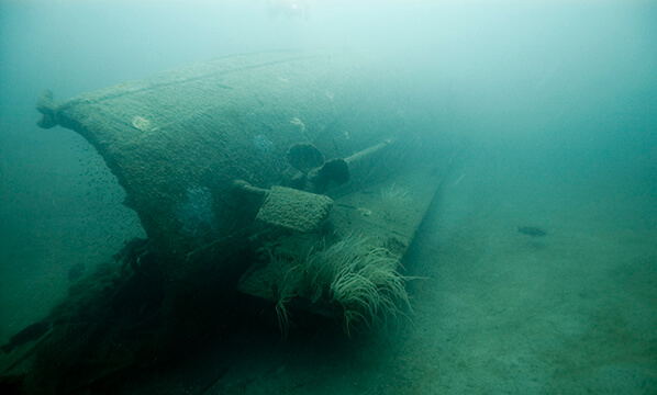 The prop of the bedloe resting on the seafloor
