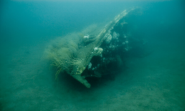 The bow of the bedloe resting on the seafloor