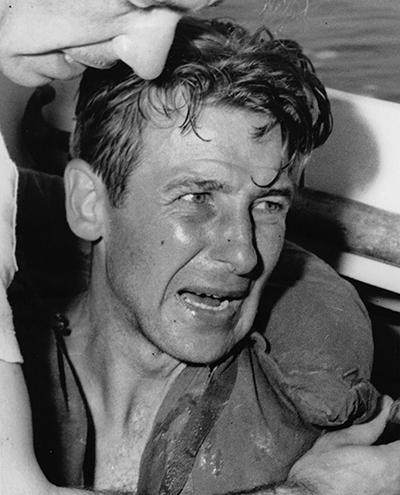 A distressed survivor of the Jackson wreck after being rescued