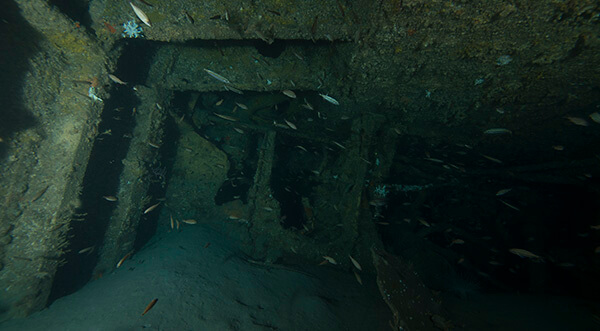 The inside of the Merak wreck
