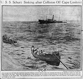 news clipping about the collision of the schurz and florida