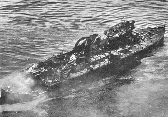 USS Virginia (BB-13) wreckage after aerial bombing test by Martin NBS-1 bombers