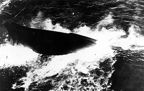 USS virginia sinking after use as a bombing target