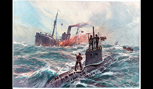 A reproduction of WWI painting shows a German submarine attacking an American merchant ship