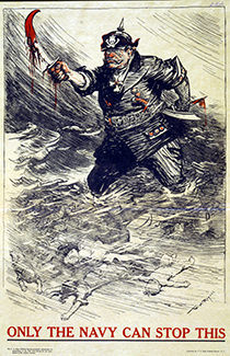 WWI U.S. Navy recruiting poster depicts a German soldier brandishing a bloody sword as he wades in a tide of women's and children's bodies