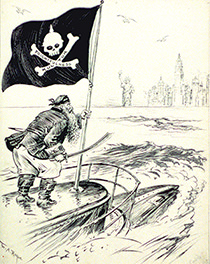 A WWI enlistment poster depicts a German military officer standing on a submarine in New York Harbor